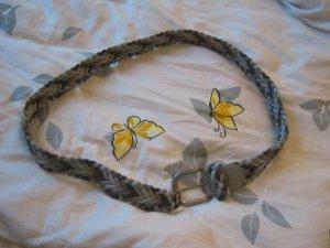 Cinturón trenzado color plata-gris