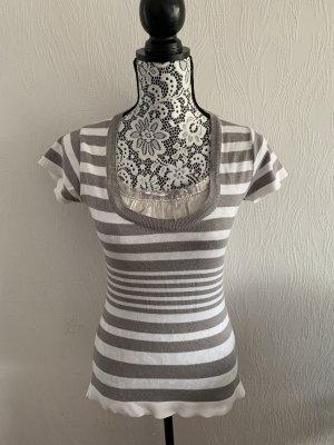 Grau-weiß gestreiftes Shirt von Promod Gr. 36