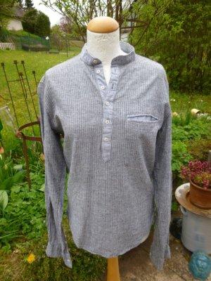 Grau-Weiß Stehkragenhemd Leinen Gr. S
