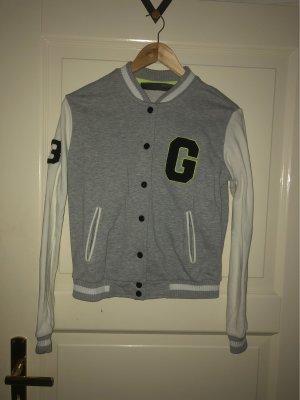 Grau-weiße Collegejacke XS