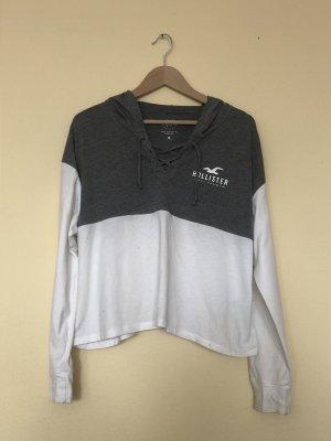 Grau weißer Hollister Sweater Größe S, cropped