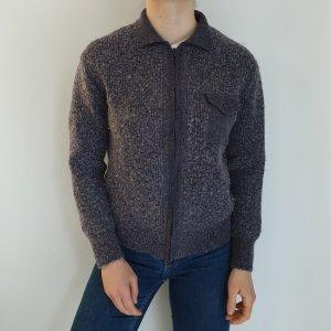 Grau Wolle Jacke Cardigan Strickjacke Oversize Pullover Hoodie Pulli Sweater Top True Vintage