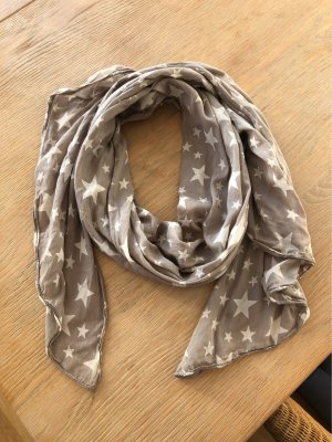 Foulard en soie gris brun-blanc cassé