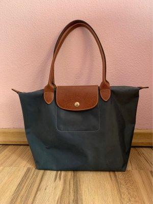 Graublaue Longchamp Tasche