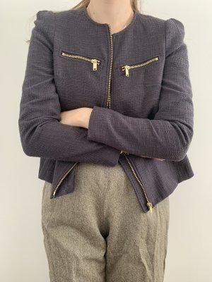 H&M Blazer Tweed azul acero-azul oscuro