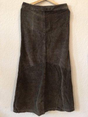 Graubrauner langer Cordrock von H&M Größe 38