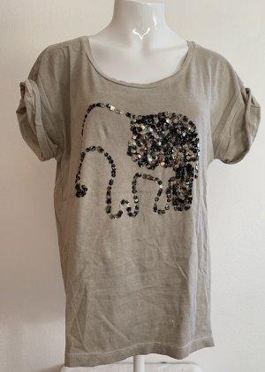 Graubraunes T-Shirt mit Pailletten-Motiv von s.Oliver