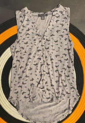 graue Bluse mit Schmetterlingen, Gr.32
