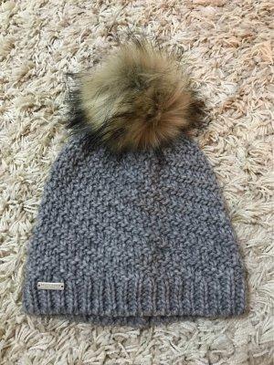 Seeberger Chapeau en tricot noir-gris