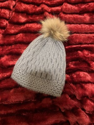 Made in Italy Knitted Hat light grey fur