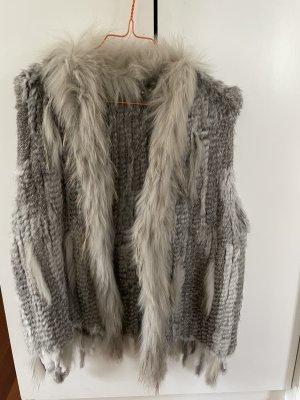 Fur vest grey-light grey