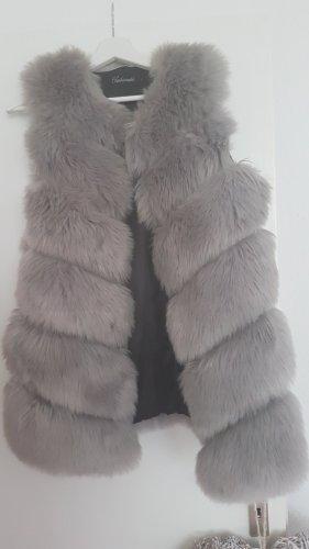 Chaleco de piel color plata-gris claro piel artificial