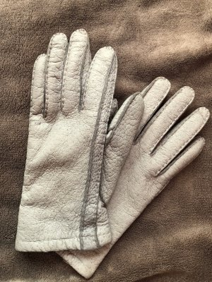 Graue Handschuhe - Echtleder - Retro