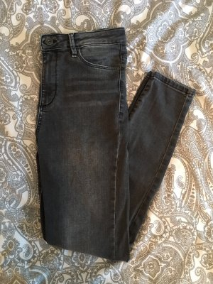 Graue High-Waist Skinny-Jeans
