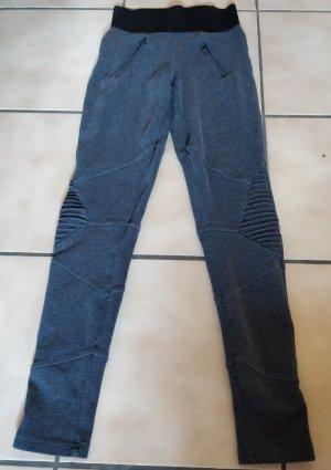 Graue Hosen Leggings mit schwarzem Gummibund und Raffungen am Knie Gr. M