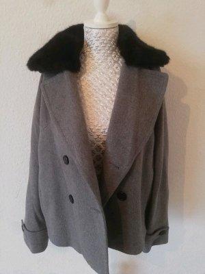 Graue Jacke mit abnehmbarem Plüsch-Kragen L