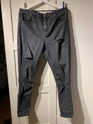 Topshop Jeans a vita alta grigio scuro