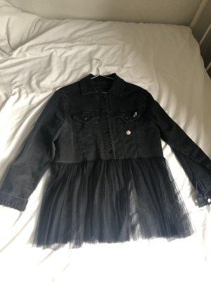 Graue jeansjacke grau schwarz Tüll Strass Glitzer tailliert Jacke Jeans Übergang