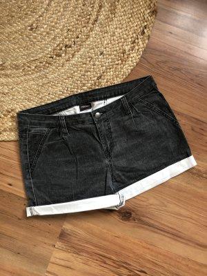 Pieces Short en jean gris foncé-blanc