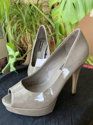 Mango Peep Toe Pumps grey-light grey