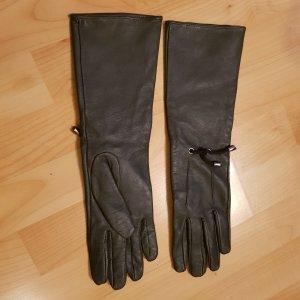 Gants en cuir gris cuir