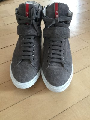 Prada High Top Sneaker grey leather