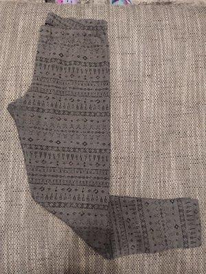 Graue Leggings mit dünnes Futter innen und Muster für Damen Größe M
