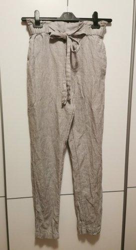 Mango Pantalon en lin gris clair-gris
