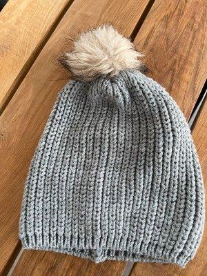 Wełniana czapka srebrny Tkanina z mieszanych włókien