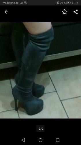 Kniehoge laarzen grijs