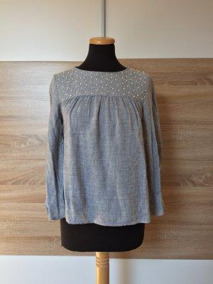 Graue Perlen Bluse von Zara, Gr. S (NEUw.)