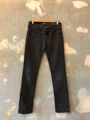 7 For All Mankind Jeans cigarette gris foncé coton