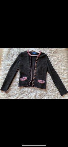 Graue Trachtenjacke mit rosa und hellblauen details