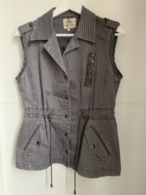 Biker Vest grey-silver-colored cotton