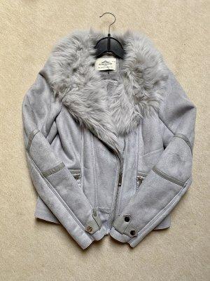 Urbancode Giacca in eco pelliccia grigio chiaro-argento