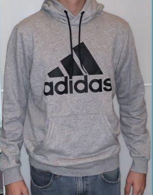 grauer Adidas Pullover, schwarzes Logo