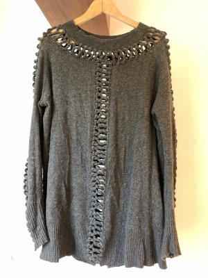 Allsaints Długi sweter szary-ciemnoszary