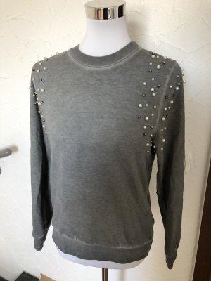 grauer Aniston Pulli / Pullover mit Perlen - Gr. 36