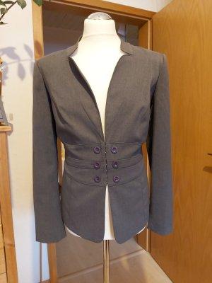 BC Collection Blazer de esmoquin gris tejido mezclado