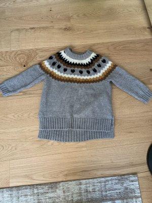 Grauer Boho Pullover Strickpullover mit Strickereien H&M 34 oversized