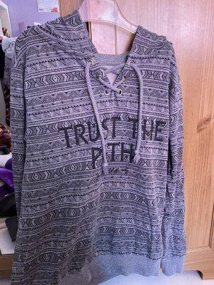 C&A Sweter z kapturem srebrny