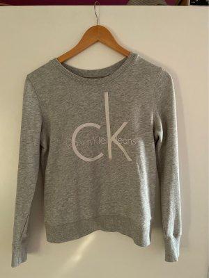 Calvin Klein Pull ras du cou gris clair-blanc