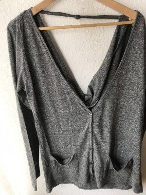 Grauer Cardigan Pullover mit Rückenausschnitt