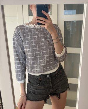 Lange top wit-grijs