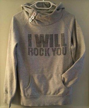 "grauer Damen-Hoodie, Gr.S, ""I will rock you"""
