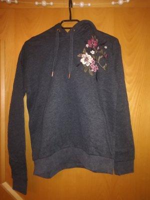 Grauer hoodie mit Blumenaufdruck