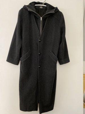 Abrigo con capucha gris antracita-gris oscuro Lana