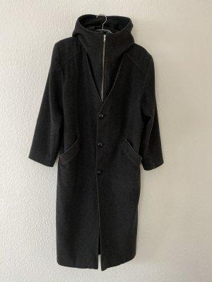 Cappotto con cappuccio antracite-grigio scuro Lana