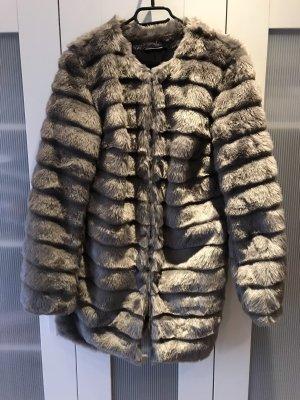 Rainbow Abrigo de piel gris-color plata