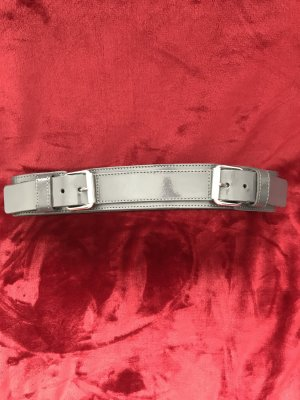 Anne L. Leather Belt grey-silver-colored